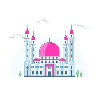 Фиолетовый купол здания мечети, изолированные на белом
