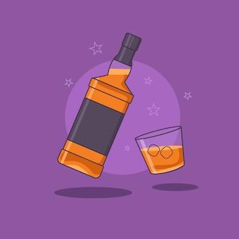 紫色の背景に分離されたウイスキーのグラスとウイスキーボトル