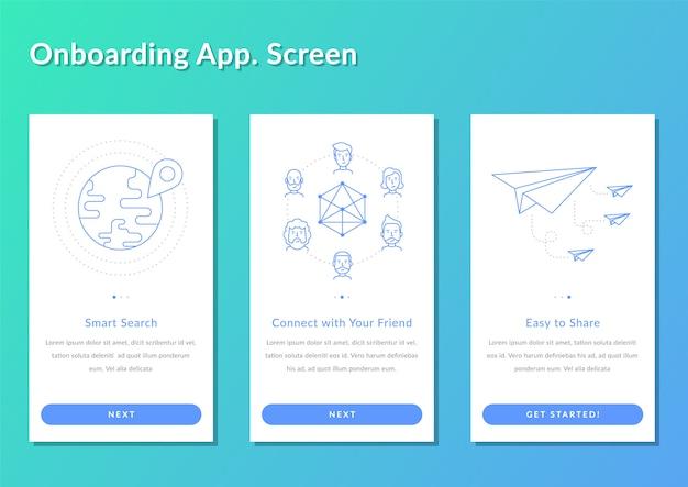 オンボーディング画面チュートリアルアプリケーション登録スプラッシュスクリーンベクトルイラスト