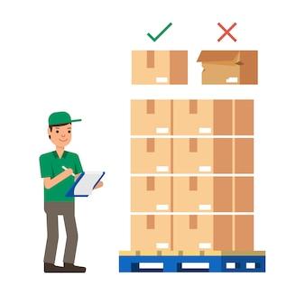 倉庫作業員在庫在庫をチェックモダンなフラットスタイルのベクトル図