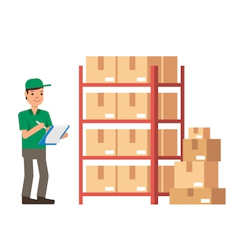 倉庫の在庫および配達労働者白い背景に分離されたモダンなフラットスタイルのベクトル図