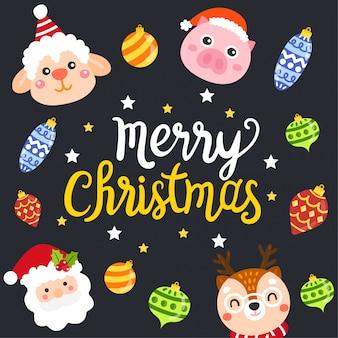 かわいい漫画のクリスマスの概念。