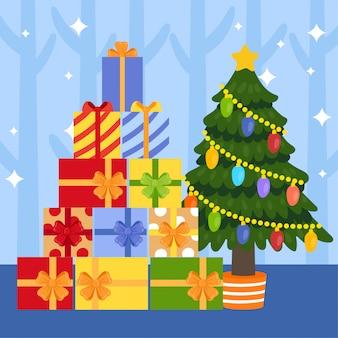かわいい漫画のクリスマスのギフトボックス。