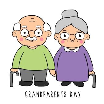 Нарисуйте стили каракулей в день дедушки и бабушки.