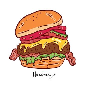 ハンバーガーの手描きのイラスト。