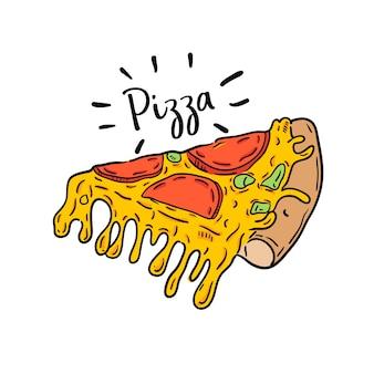 ピザの手描きのイラスト。