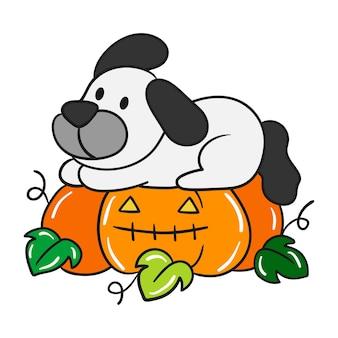 かわいいハロウィーンの犬のベクトル。