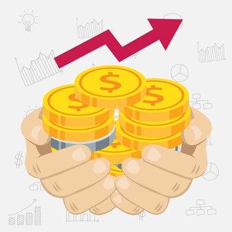 金と銀の貨幣を手に持つ手