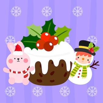 クリスマスカップケーキベクトル。
