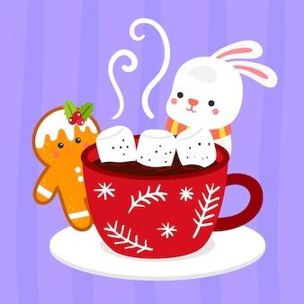 ホットチョコレートのメリークリスマスグリーティングカード。