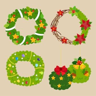 クリスマスの花輪ベクトル。