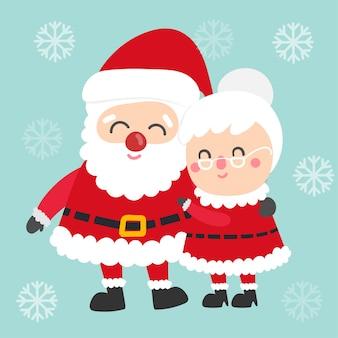 かわいい漫画のクリスマスサンタクロースとサンタベクトル。