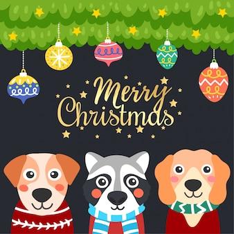 メリークリスマスグリーティングカード。