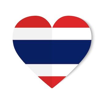 ハートの背景に折り紙スタイルでタイの国旗