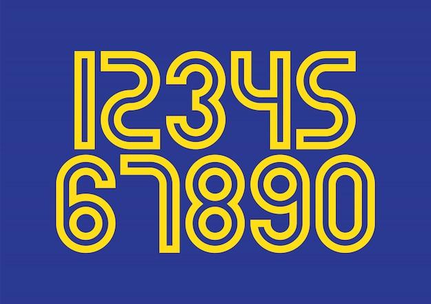 Набор чисел с синими и желтыми элементами дизайна типографии