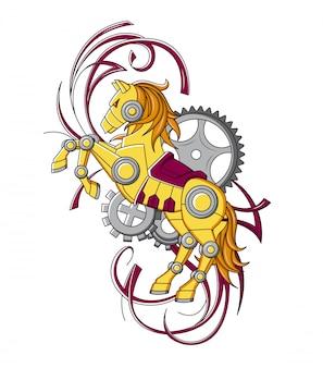 メカニカルスチームパンクなスタイルの馬