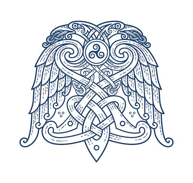 神オーディンのシンボルのスカンジナビアタトゥー