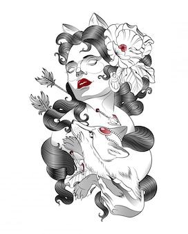 彼女の腕の中でキツネを持つ女性