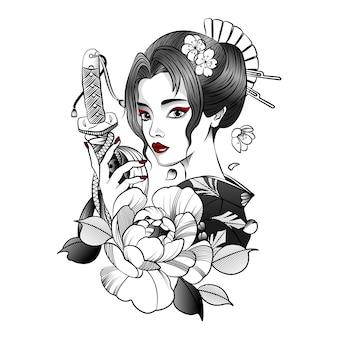 彼女の手に刀を持つ日本の女の子