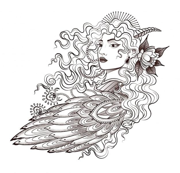 美しい鳥-冠を持つ少女のタトゥー