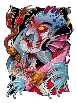 Японский морской дьявол с самурайским мечом