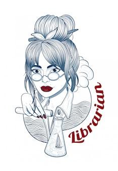 旅行のメガネの夢を持つ美しい女性