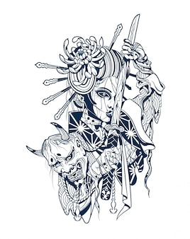 悪魔の切断された頭を持つ侍女性
