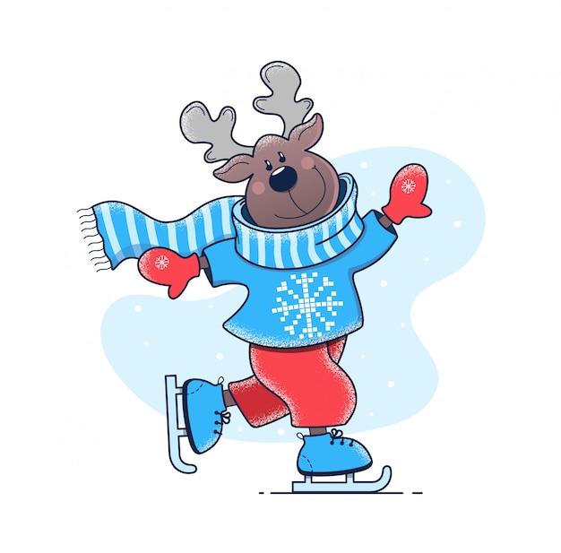 鹿がスケートリンクに乗っている
