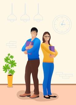 Молодая пара стоит в офисе
