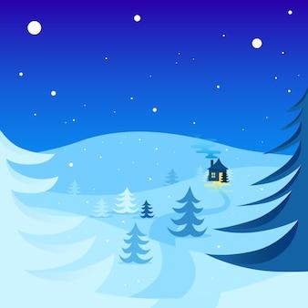 丘を持つ冬の風景の背景