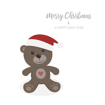 孤立したテディベアのクリスマスカード