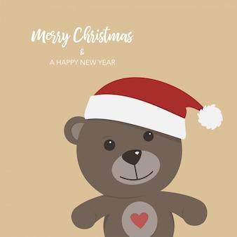 テディベア、クリスマスカード、背景