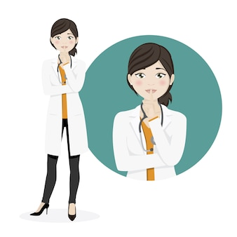 白い背景の上の沈黙を求めて女性医師