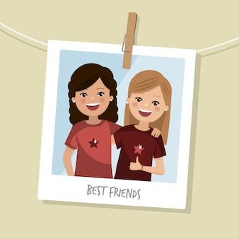 親友の写真。笑っている二人の幸せな女の子。ベクトル図