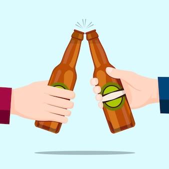 ビール瓶と青い背景で祝う人々