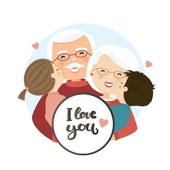 幸せな祖父母の日のシーン。家族の抱擁