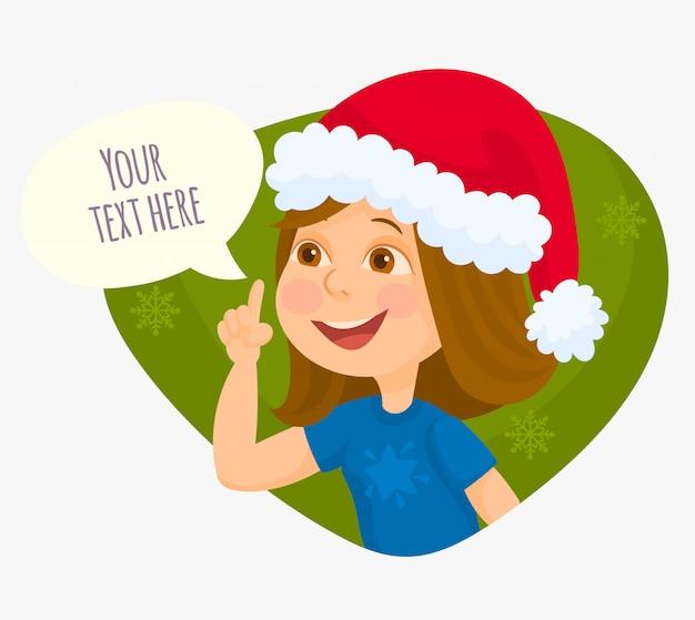 クリスマスを祝う上げられた指を持つ少女