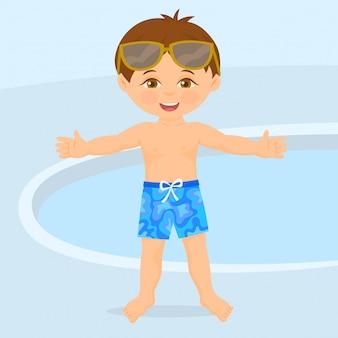 プールの横にある水泳選手