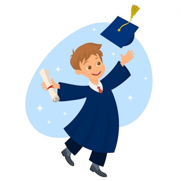 卒業証書を保持し、卒業の帽子を投げる学生