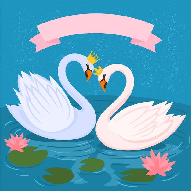 Венценосные лебеди, водяная лилия и листья