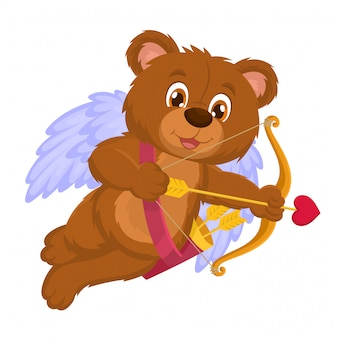 バレンタインキューピッドクマ彼の矢を撃つ準備ができて