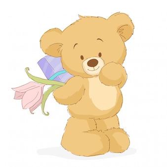 Плюшевый мишка с цветком и подарком