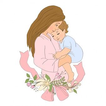 母の腕の中で赤ちゃんの息子を保持しています。