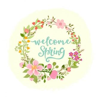 美しい花の春の花輪