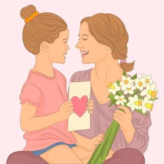 Маленькая девочка поздравляет свою мать