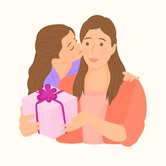 Девушка дарит подарок на день матери