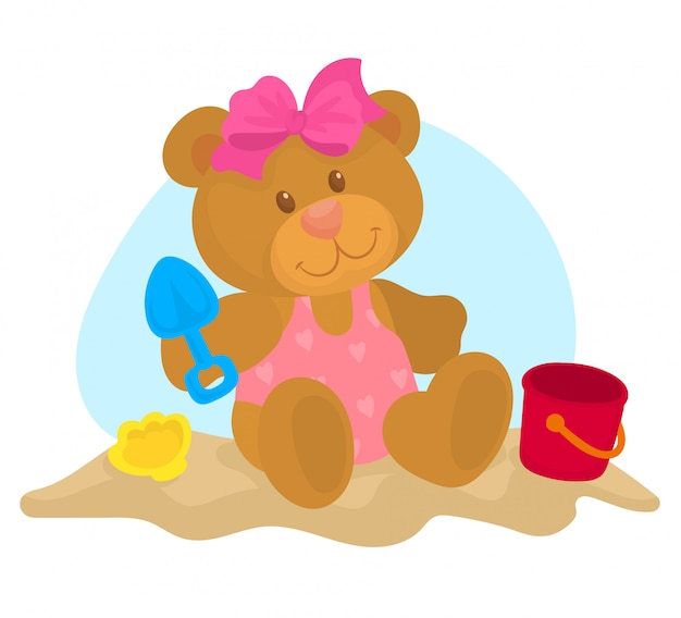 砂で遊ぶ小さなテディ