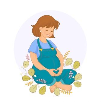 妊娠中の女性は彼女の赤ちゃんを待っています