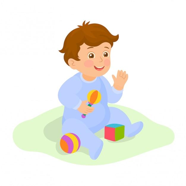ガラガラで遊ぶ男の子の赤ちゃん