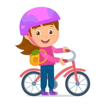 自転車で学校に行く女の子